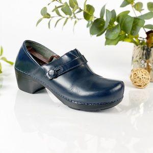 Dansko Blue Solstice Leather Clog Mule Slip
